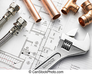 instalacja wodociągowa, wyposażenie, na, dom, plany