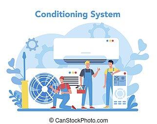 instalation, légkondicionálás, szolgáltatás, rendbehozás, concept., repairman
