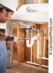 instalator, instalowanie, zatonąć