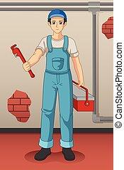 instalator, jego, narzędzia, ilustracja, pracujący