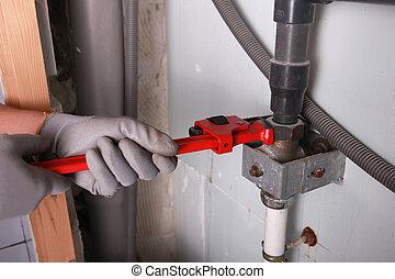 instalator, tokarski, strzała, szarpnąć