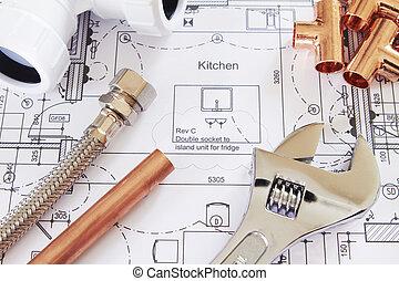 installateurarbeit, haus, arrangiert, pläne, werkzeuge