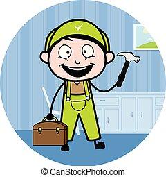 installatiebedrijf, -, arbeider, illustratie, vector, retro, gereedschap, hersteller, spotprent, vrolijke