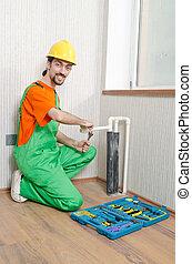 installatiebedrijf, badkamer, werkende