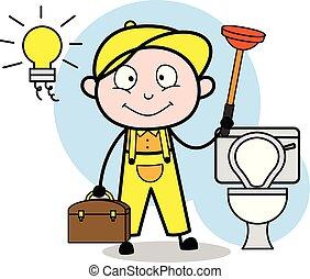 installatiebedrijf, commode, -, illustratie, vector, poetsen, gereedschap, arbeider, hersteller, spotprent, retro