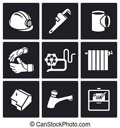 installatiebedrijf, iconen, werken, s, vector, thuis