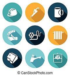 installatiebedrijf, illustration., iconen, set., werken, vector, thuis