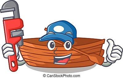 installatiebedrijf, macot, houten, naast, strand, scheepje