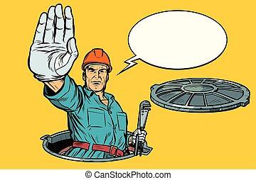 installatiebedrijf, stop., rioolput, gebaar