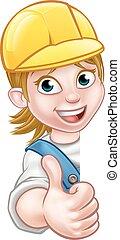 installatiebedrijf, vrouw, aannemer, timmerman, werktuigkundige, of