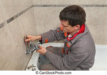 installatiebedrijf, werken, badkamer