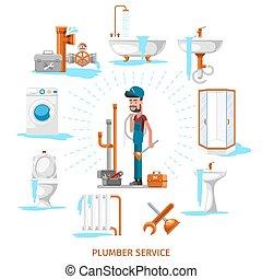 installatiebedrijf, werken, illustratie, vector, onderhoud, loodgieterswerk, of, ingenieur