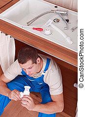 installatiebedrijf, werkende , keuken
