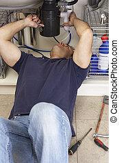 installatiebedrijf, zinken, werkende , keuken