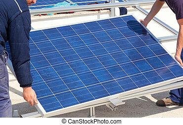 installation, av, solar panel