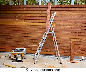 installation, barrière, ipe, charpentier, bois, table a vu