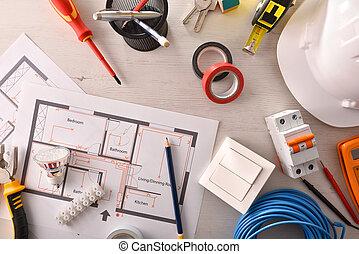 installation, bureau, projet, électrique, outils bureau, ingénieur
