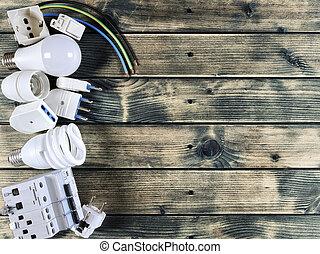 installation, composants, bois, résidentiel, sommet, rustique, électrique, fond, vue