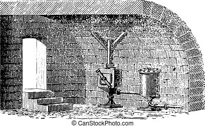 Installation in a building of the receiver and the spillway (Bertier system), vintage engraved illustration. Usual Medicine Dictionary by Dr Labarthe - 1885.