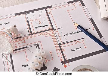 installation, logement, élevé, équipement, électrique, table, vue