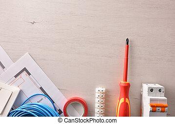 installation, logement, équipement, électrique, au-dessus, vide, table