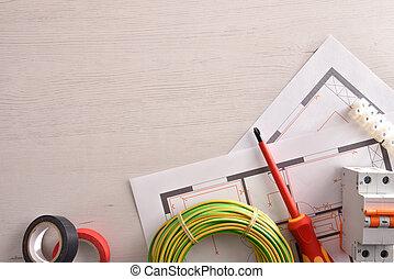 installation, logement, équipement, électrique, vide, table, gauche