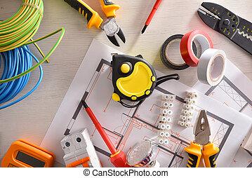 installation, logement, équipement général, électrique, sommet table