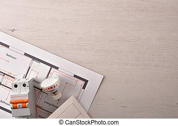 installation, logement, détail, équipement, électrique, sommet table