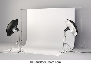 installation, lumières, studio, fond, blanc, 3d