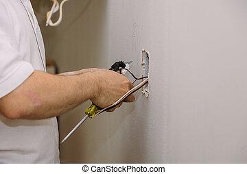 installation, mains, outlets., électrique, professionnel