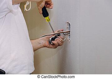installation, mur, installation, main, sortie électrique, électricien, douilles