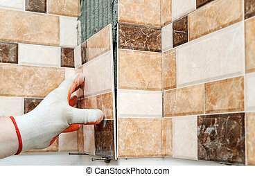 Installation of ceramic tiles.