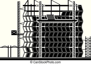 Installation of curtain wall of building