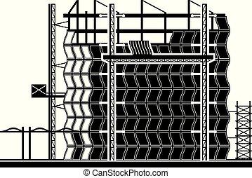 Installation of curtain wall of building - vector illustration