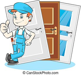 Installation of doors Master - The master on installation...