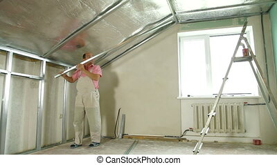 Installation of gypsum plasterboard ceilings