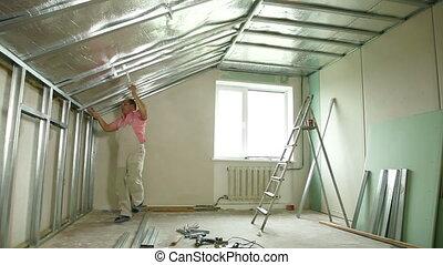 Installation of gypsum plasterboard ceilings