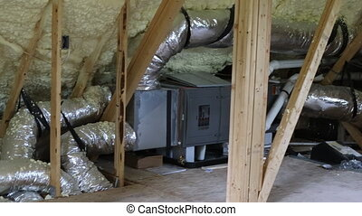 installation of heating system on the roof of the pipe ...