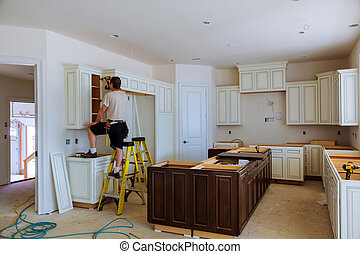 Blind corner cabinet, island drawers and counter cabinets installed