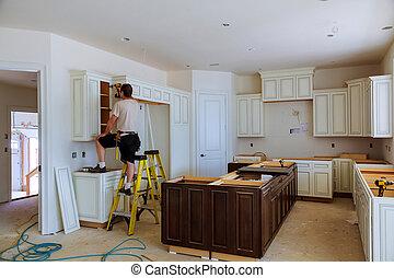 Installation of kitchen cabinet. - Blind corner cabinet,...