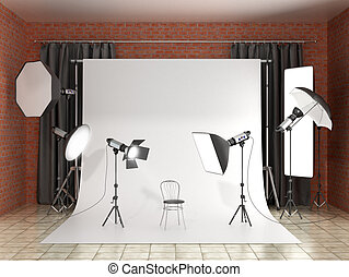 Installation of lighting in the photo studio. Photo studio...