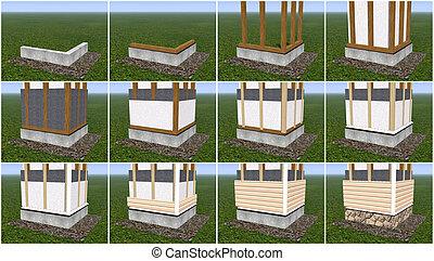 Installation of siding panels. - Boarding house wall panels,...