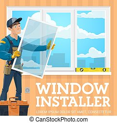 Window installer, windows installation service company. Vector handyman with window frame installing casement, tool kit, level. Male professional worker in uniform, screwdriver and pliers work tools