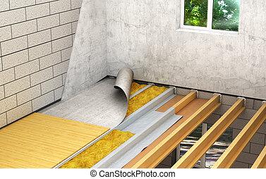Installation of wooden floors between floors: detailed...