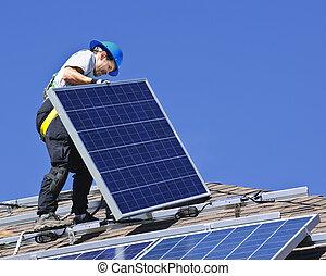 installation, solar panel