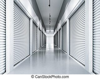 installations, rendre, stockage, doors., blanc, 3d