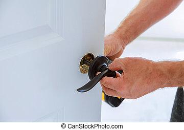 installazione, lock., porta, carpentiere