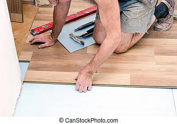 installazione, pavimento