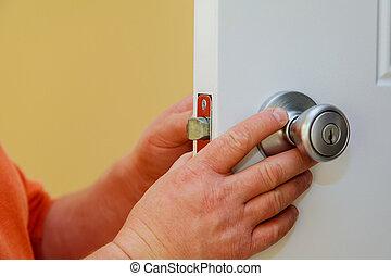 installazione, porta, lock.