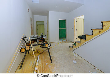 installed, brett, baugewerbe, neu , gips, drywall, unter, inneneinrichtung, haus